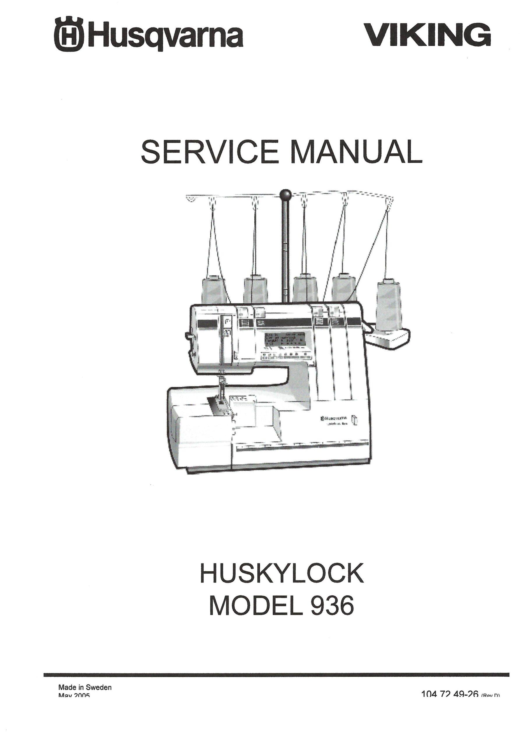 Service Manual Viking Huskylock 936 Serger Machine