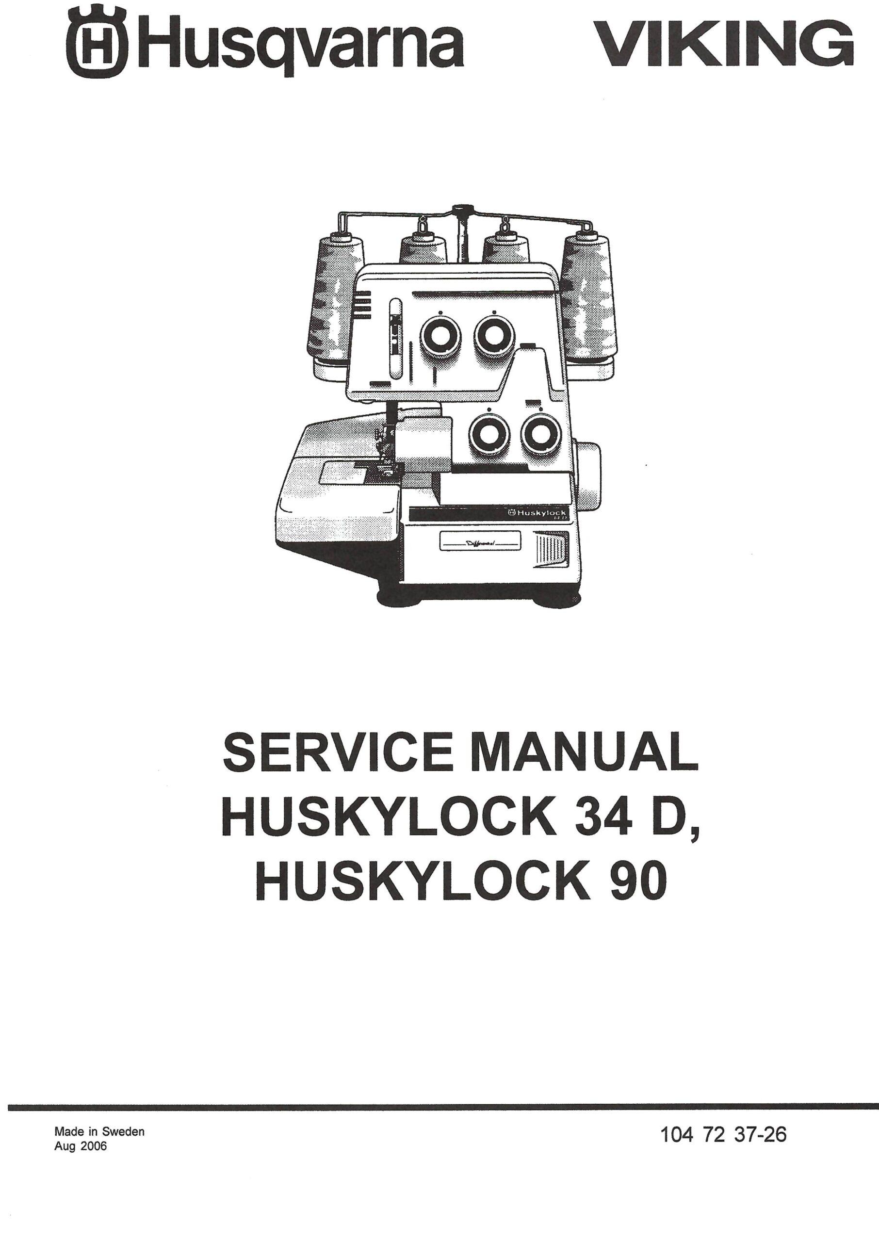 Service Manual Viking Huskylock 34D, 90 Serger Machine
