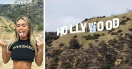 Julia Rose with the altered Hollyboob sign