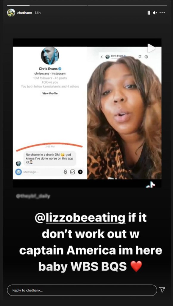 'If it don't work out with Captain America, I'm here, baby.' Chet Hanks shoots his shot with Lizzo after her drunk DM to Chris Evans goes viral.
