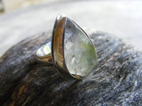 Dendritic Quartz Teardrop Ring