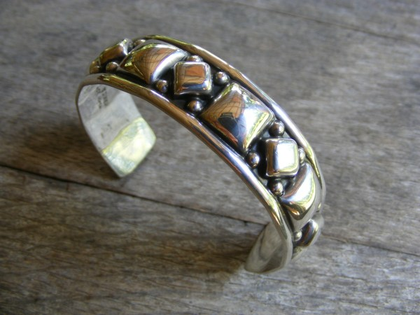 Black and Silver Cuff Bracelet – Vintage Mexican