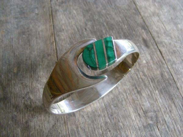 Malachite Clamper Bracelet – Vintage Mexican