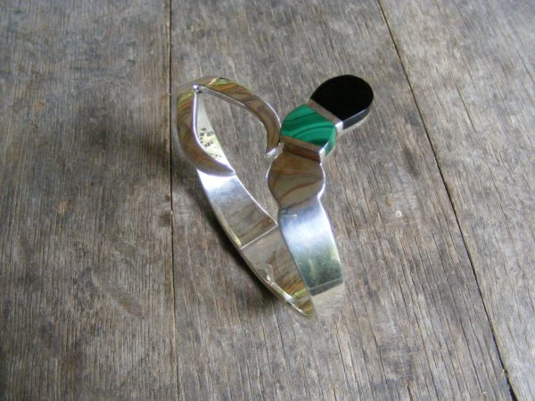 Onyx and Malachite Snake Clamper – Vintage Mexican