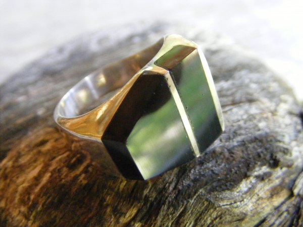 Double Inlay Onyx Ring – Vintage Mexican