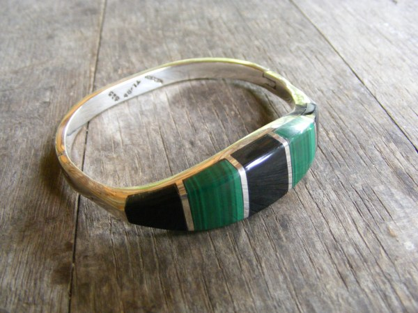 Malachite and Onyx Hinge Bracelet – Vintage Mexican