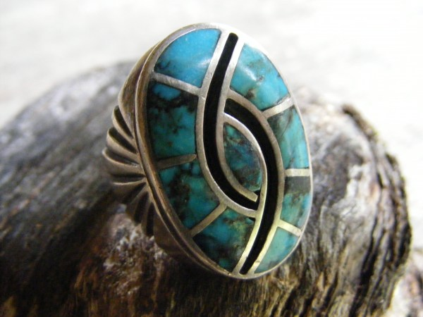 Zuni Turquoise Inlay Humming Bird Ring