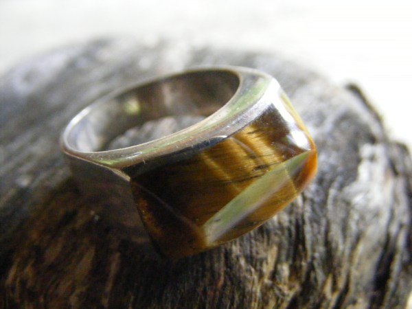 Horizontal Tiger Eye Ring – Vintage Mexican