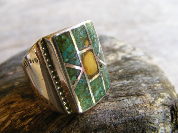 Zuni Turquoise Chip Inlay Ring