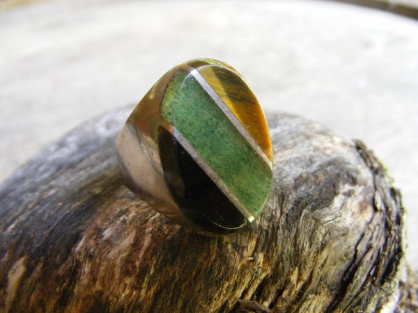 Multi-Stone Diagonal Oval Ring – Vintage Mexican