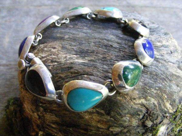Teardrop Multi-Stone Link Bracelet – Vintage Mexican