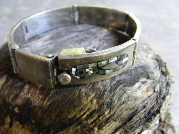 Hinged Abalone Chip Inlay Bracelet – Vintage Mexican