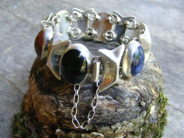 Multi-Stone Double Link Bracelet – Vintage Mexican