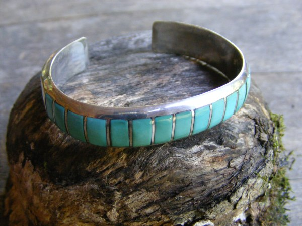 Navajo Turquoise Inlay Cuff Bracelet
