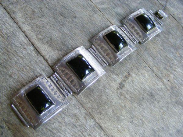 Onyx Hinge Bracelet – Vintage Mexican