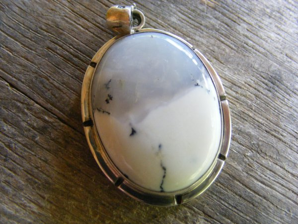 Oval Chalcedony Notched Pendant