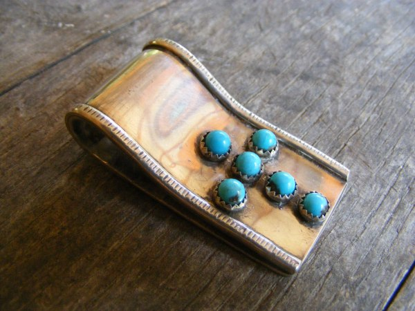 Navajo Turquoise Cross Money Clip