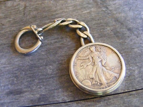 Walking Liberty Key Ring with Figaro