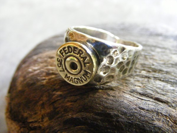 Hammered Bullet Ring