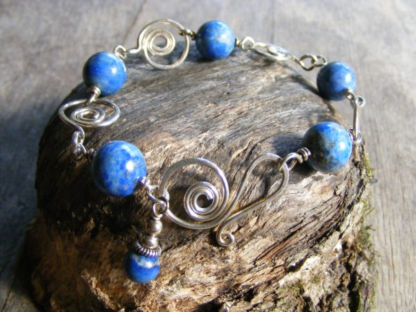 Lapis And Spirals Bracelet