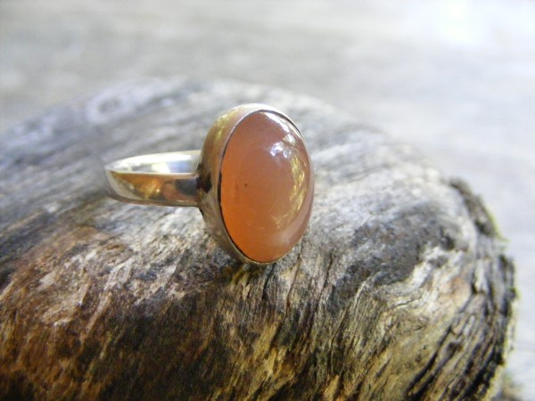 Orange Moonstone Vertical Ring