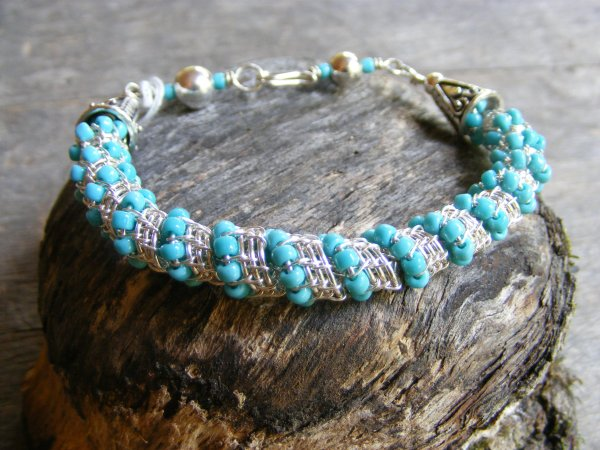 Woven Bracelet with Blue Beads