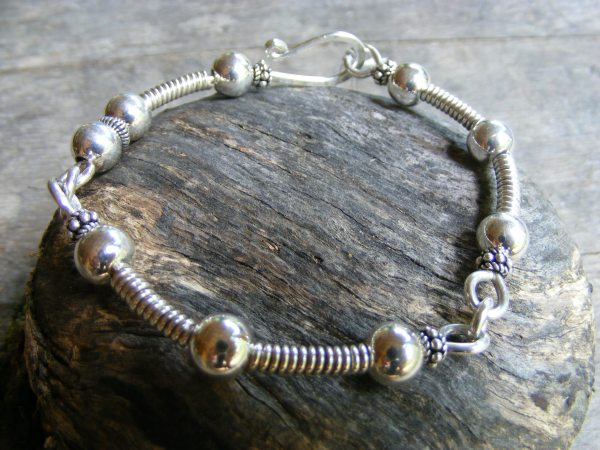 Coil and Ball Cuff Bracelet