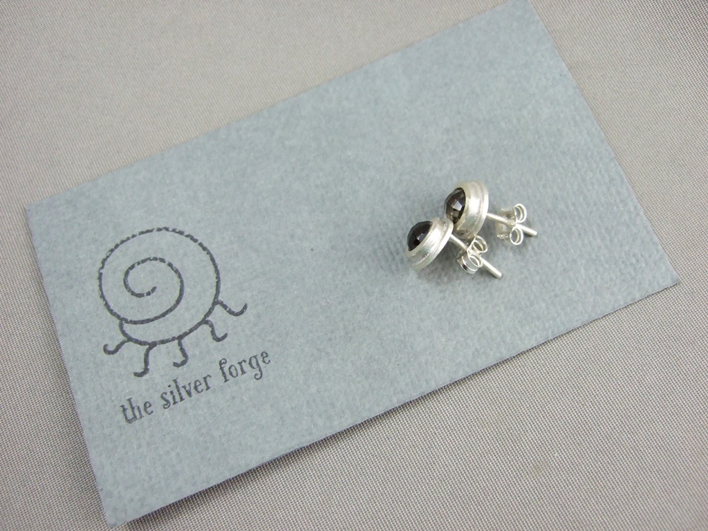 Smoky Quartz Gemstone Stud Earrings