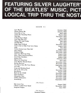 Song List for Beatles Tribute #1.