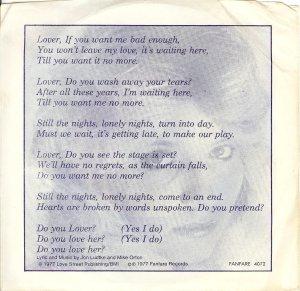 "Lyrics for the song, ""Lover""."
