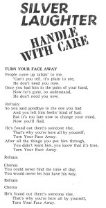"Lyrics for ""Turn Your Face Away"""