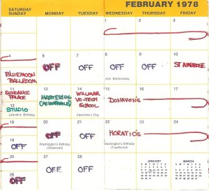 February 1978 Booking Calendar