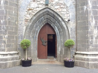 The swan emblems on the church doors..inspired by Yeats poem ' The Wild Swans at Coole'