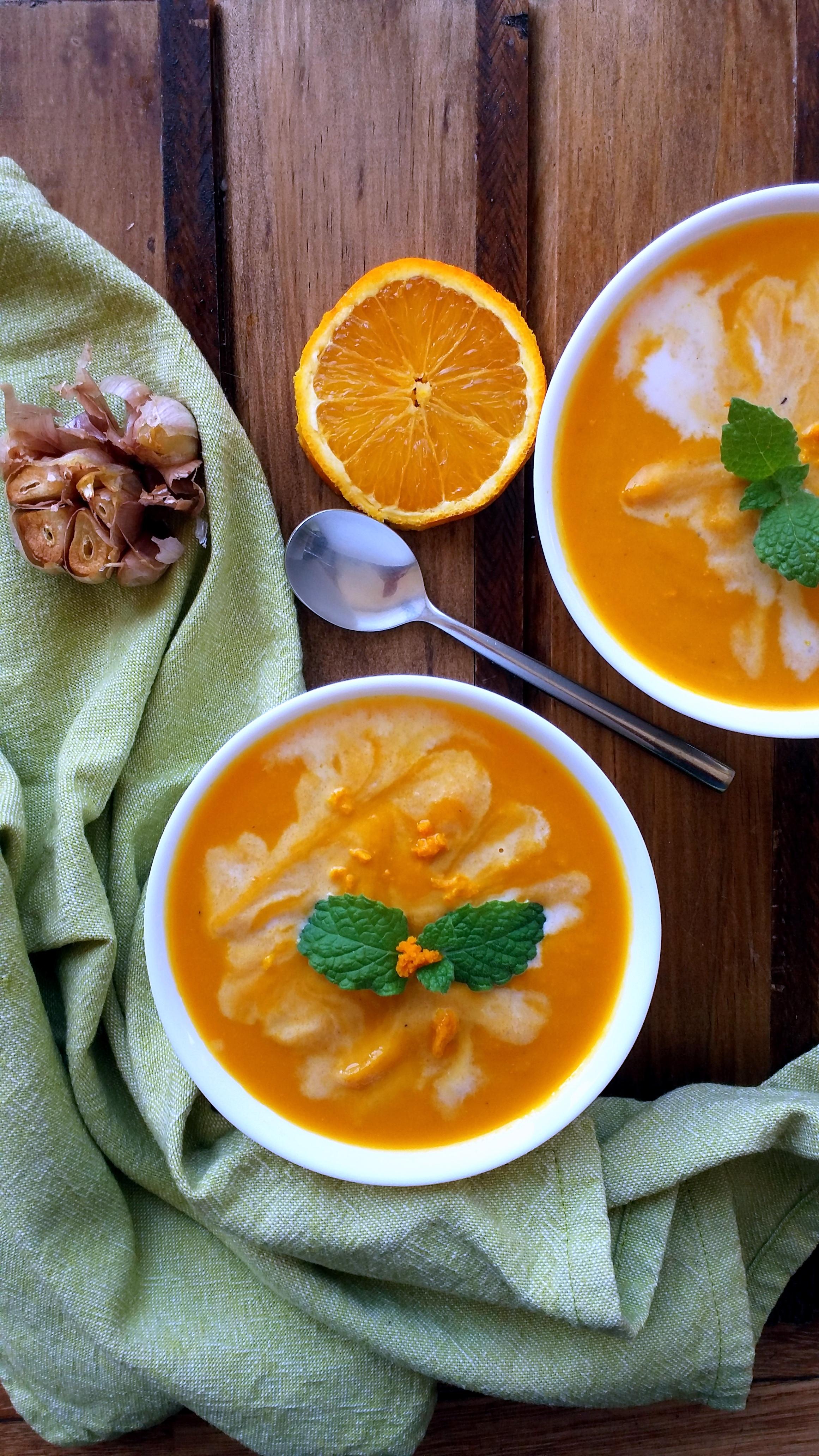 Crema Zanahoria, Porotos, Ajo Asado, y Naranja 2