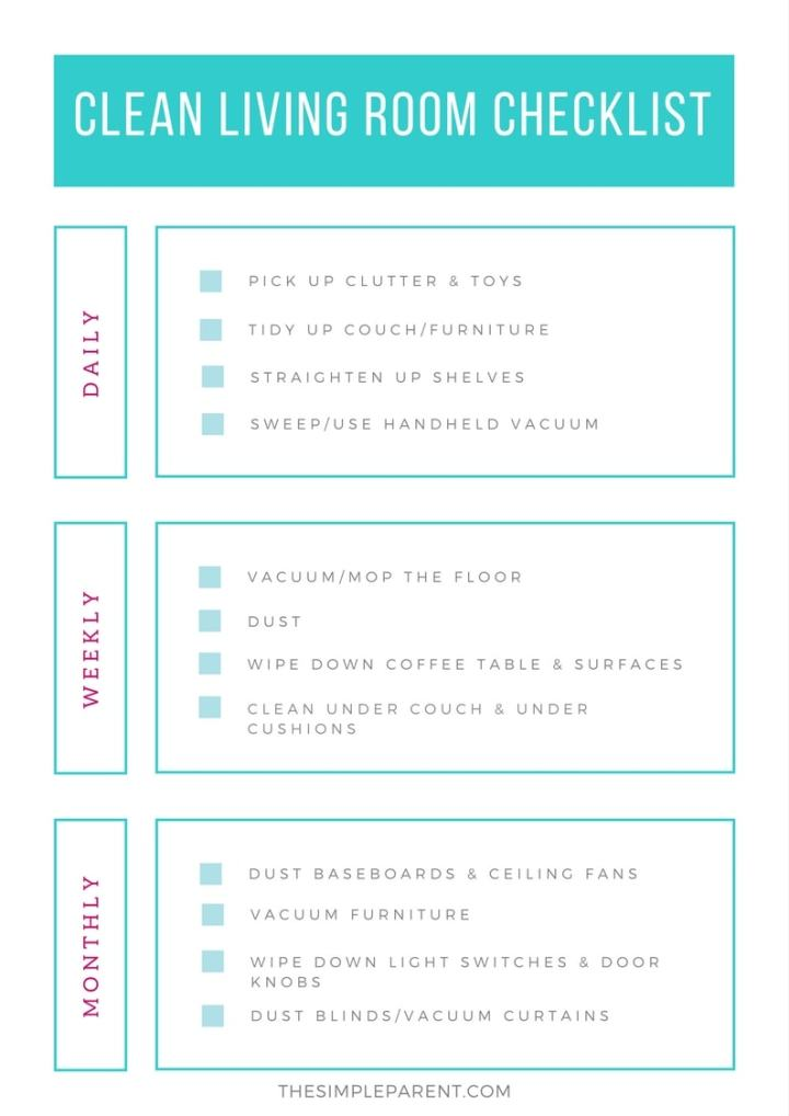 Cleaning Living Room Checklist | Gopelling.net