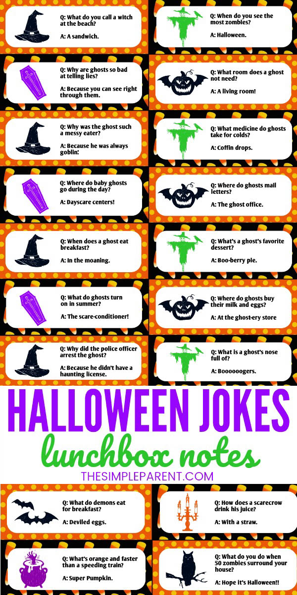 Use them as lunch box jokes or joke of the day with our free printable! 31 Halloween Jokes For Kids That Will Have Them Rolling The Simple Parent