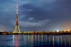 TV tower at night in Riga