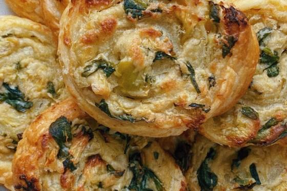 vegan spinach artichoke dip roll ups featured