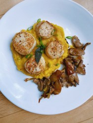brown butter sage scallops and butternut squash puree with oyster mushrooms