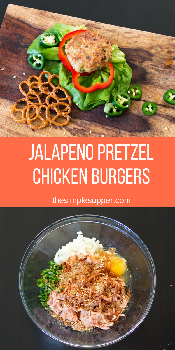 Jalapeno Pretzel Chicken Burgers that can be made any time of year. Kick up the spicy or take it down a bit this recipe is easy to adjust to whatever your families tastes are. From start to finish this meal takes 30 minutes to get on to the table!