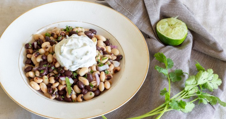 3 Bean Salad with Cilantro Yogurt Sauce