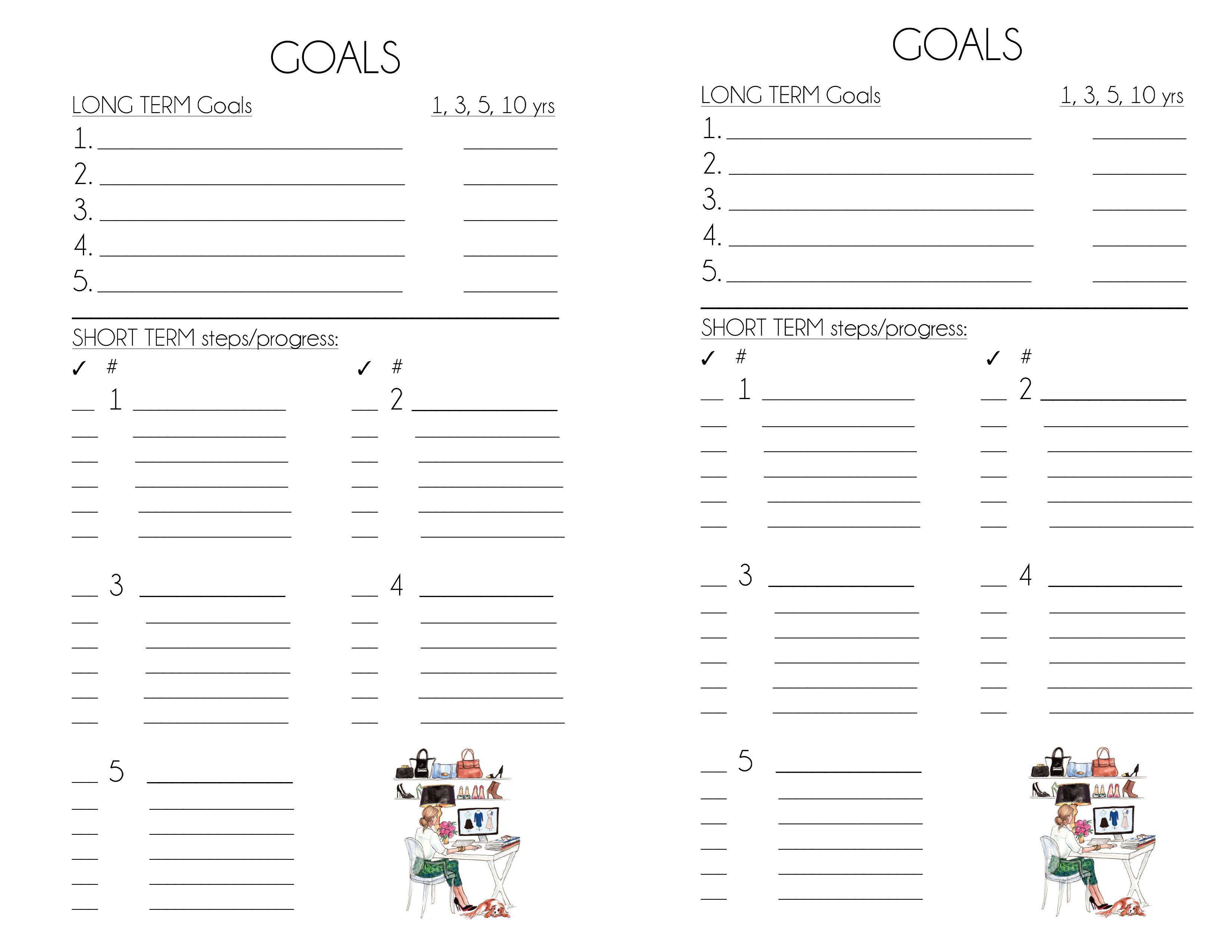 Long Term And Short Term Goal Setting Worksheet