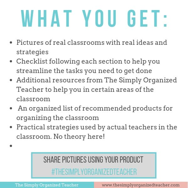 Organize your elementary classroom area by area with this resource. The Classroom Organization Guidebook includes 40+ pages of organization tips, checklists, products, and resources.