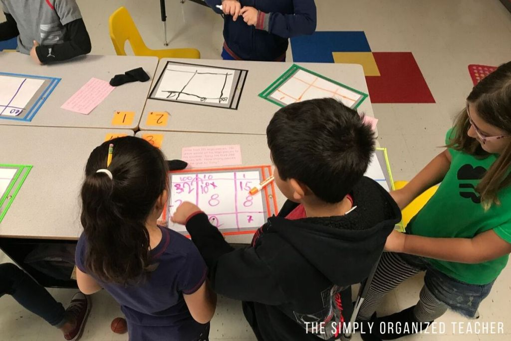 Students working on a math problem together