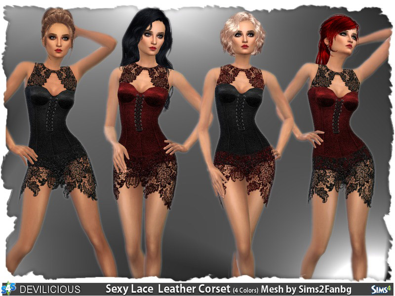 Sparkling Sexy Lace Leather Corset The Sims 4 Catalog