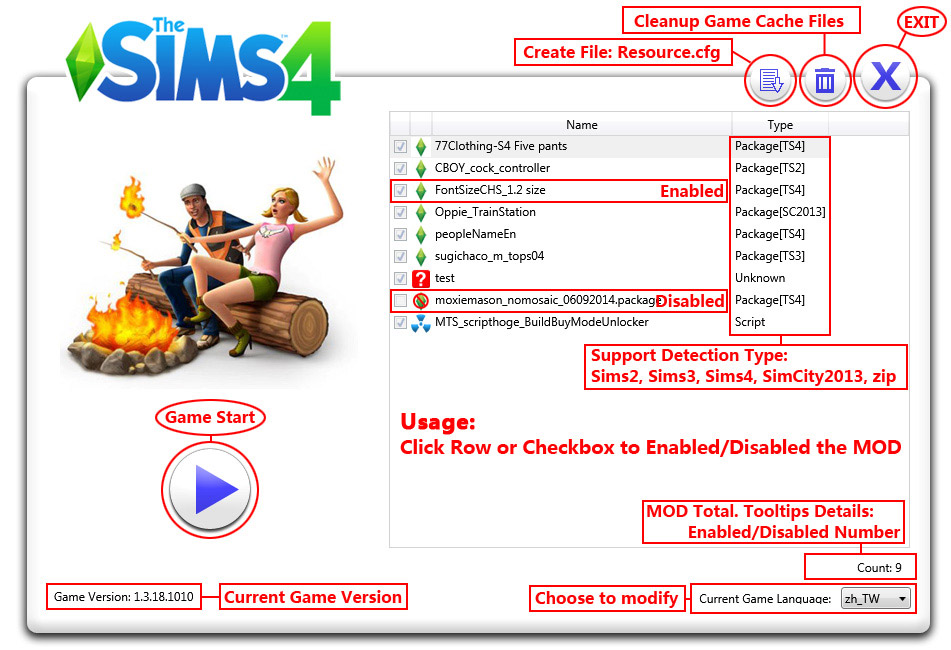 TS4 MOD Simple Manage (Game Launcher) - The Sims 4 Catalog