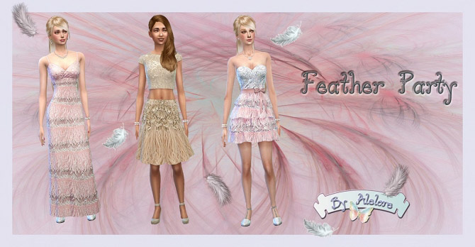 2d3e7c4dc2f FEATHER PARTY dress - The Sims 4 Catalog