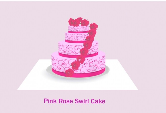 Pink Rose Swirl Cake For Baking By Laurenbell2016 The Sims 4 Catalog