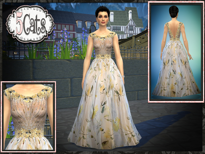 Five5Cats' TW Floral Tulle Sheer Gown