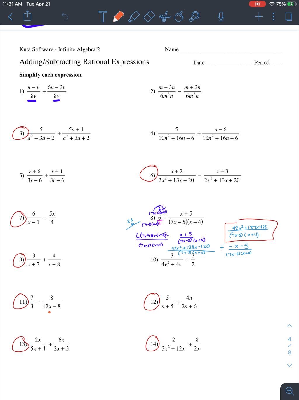Algebra 2 Honors